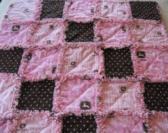 Pink and Brown John Deere Baby Girl Rag Quilt Blanket 35x35