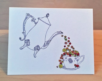 Set of 8 - Cup of Flowers  - Teapot card