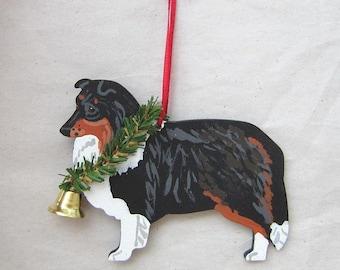 Hand-Painted SHELTIE SHETLAND SHEEPDOG Tri-color Wood Christmas Ornament...Artist Original, Christmas Tree Ornament Decoration