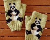 Panda PDF KNITTING PATTERN for Panda fingerless gloves/mitts - to be hand knitted