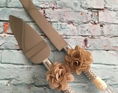 Wedding cake knife set / burlap flower cake cutting set / rustic wedding / vintage lace wedding/ rustic wedding