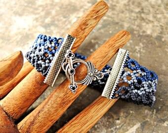 Curves Cuff Macrame Bracelet in Blues - Blue Bracelet - Micro Macrame Bracelet - Navy Blue - Navy Bracelet