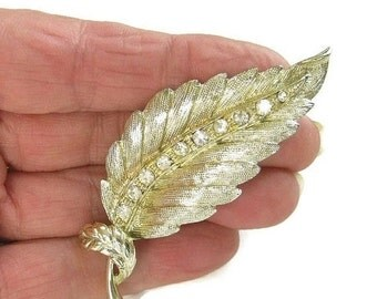Vintage Soft Gold Tone and Clear ICE Rhinestones Leaf Brooch or Pin