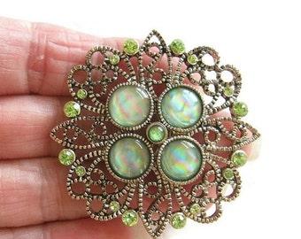 Vintage Green Art Glass and Green Rhinestones Filigree Brooch or Pin