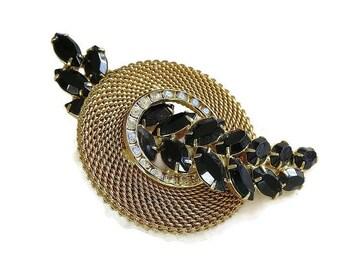 Vintage Juliana Style Mesh Circle Brooch with Black & Clear Rhinestones