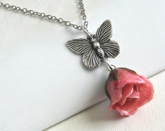 Pink Real Rosebud Necklace, Butterfly Necklace, Real Flower Jewelry, Rose Necklace, Nature Jewelry