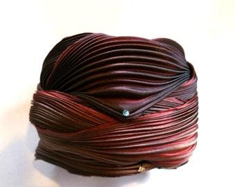 1/2 yd Shibori Ribbon Hand Dyed Silk Ribbon Black Cherry