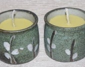Beeswax Votives, Beeswax Candles,  Beeswax Votives in Containers, Beeswax Votives in Saki Cups, Pair of Beeswax Votive Candles