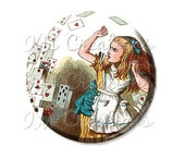 "30% OFF - Pocket Mirror, Magnet or Pinback Button - Wedding Favors, Party themes - 2.25""- Alice In Wonderland Flying Cards MR221"