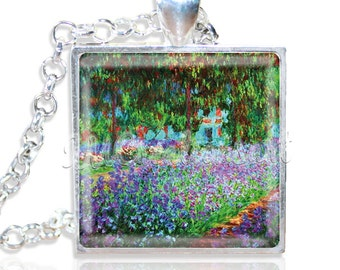 """Monet's Artist's Garden 1"""" Square Glass Pendant or with Necklace - SQ117"""