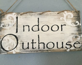 Bathroom sign, bathroom decor, outhouse sign, home and living, shabby chic bathroom, rustic bathroom, vintage bathroom sign, bath sign