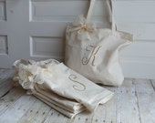 GET ONE FREE - Set of 8,9, or 10 - Large Zippered Canvas Totes - Personalized - Choose your color - Lace or Burlap Bow