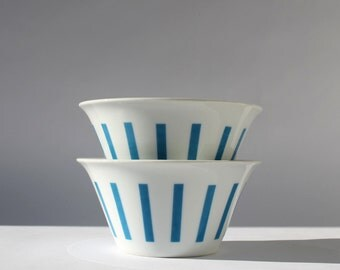 Pair of Tackett Ice Cream Bowls, MCM Dinnerware, Vintage Modern Home Decor, Blue and White Stripes