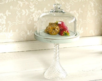 Vintage Glass Dome Cloche // Pedestal Plate // Shabby French Cottage // Farmhouse Home Decor // Collectible Display