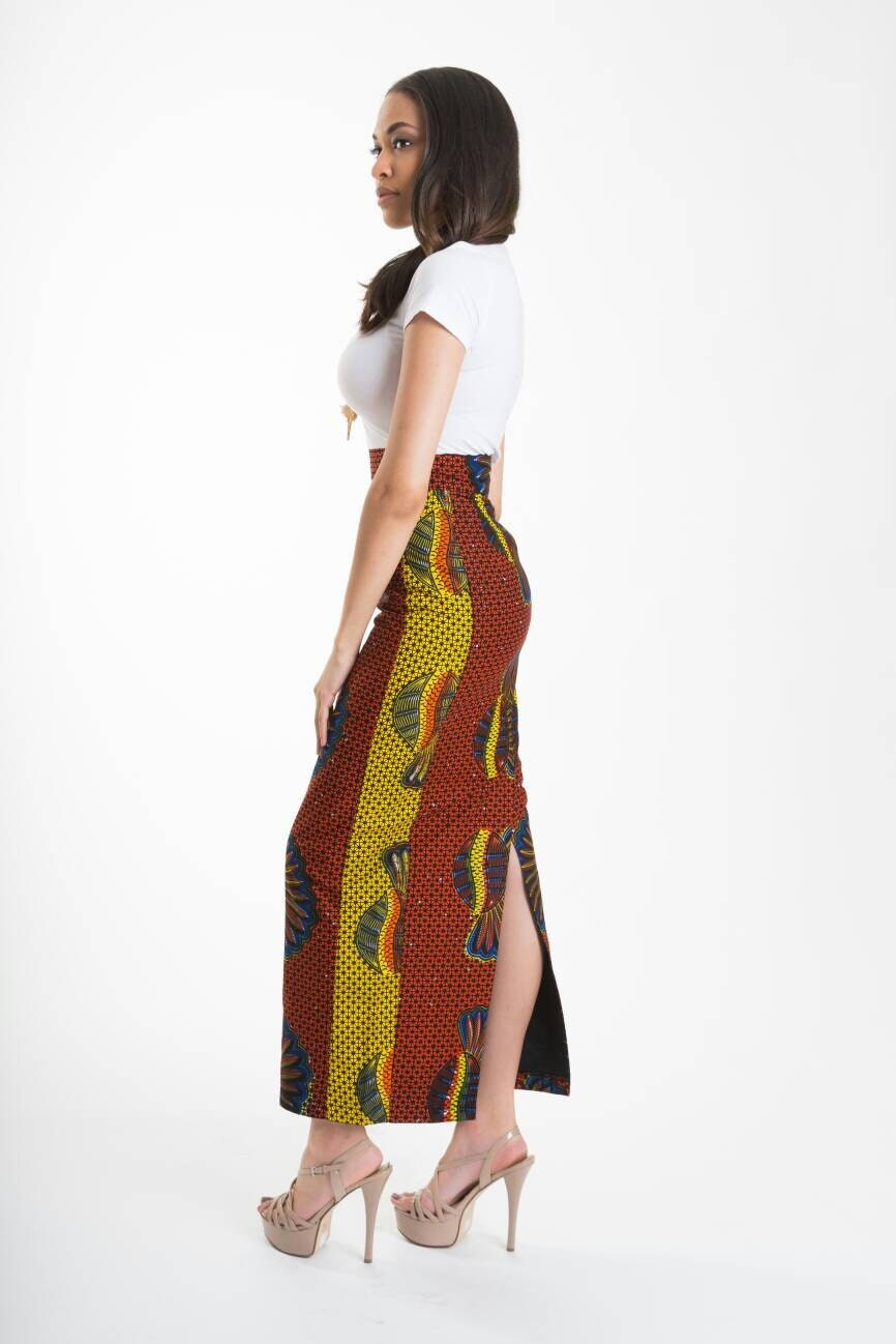African Print High Waist Maxi Skirts African clothing Afric...