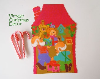 Vintage 1970 Christmas Decoration Santa Claus Elves Toy Shop Elf Paper Die Cut