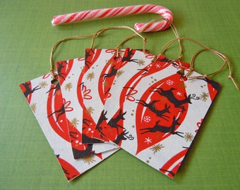 5 Christmas Gift Tags made with Vintage Mid Century Reindeer Wrapping Paper