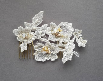OFD1 Handmade bridal lace hair piece with gold accents of Swarovski rhinestones, pearls & crystals.