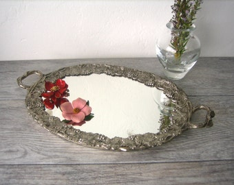 Vintage Oval Mirrored Tray ~ Silver Plated Boudoir Vanity Dresser Top Display Mirror ~ Grape and Leaf Theme ~ Gift for Her ~ Birthday