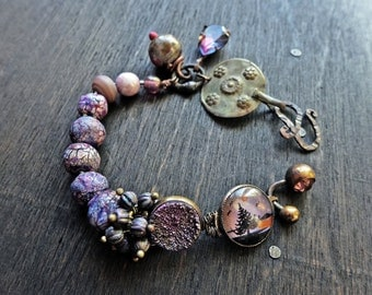 Nightscape. Purple Assemblage Bracelet with Art Beads- Mixed Media Artisan Jewelry