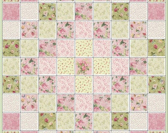 English Country Garden~Quilt Kit~Floral~Roses~Pink~Rose~Green~QK#44