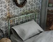 Light gray sheet set for Blythe doll bed