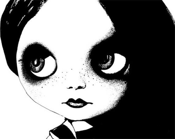 blythe doll face clipart png clip art big eyes gothic dolly Digital Image Download graphics digi stamp digital stamp printable black & white