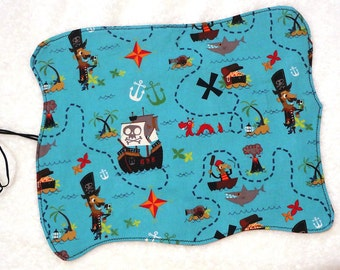 Pirate treasure map, roll up lunch placemat, pretend play, child kid, reusable cloth placemat, food mat, waldorf toy, boys party favor gift