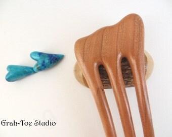 Cherry Wood Hair Fork, Threnody Wooden Hairfork,Hair Forks,Hairforks,Hair Stick,Hairsticks wood,Wood Hair Sticks,Man Bun,Hairfork,Grahtoe