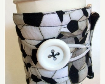 Winter Clearance Coffee cup sleeve or coffee cup cozy, black white, soccer ball
