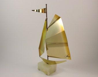 Vintage Metal Sailboat Art Sculpture by Mario Jason Originals Bronze Brass Steel with an Onyx Base Beach Theme Decor