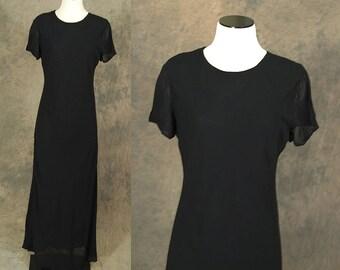 vintage 90s Maxi Dress - Minimalist Black Dress Sz M