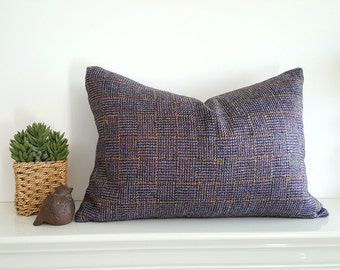 Multicolored Tweed Pillow Cover, Grey Tweed Pillows, Purple Blue Grey Flecks, Textured Wool Plaid Pillow, Mens Decor, 14x20 Lumbar, SALE