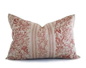 Linen Farmhouse Pillow Cover, Farmhouse Chic Pillow, Natural Rustic Pillow, Shabby Chic Decor, Rust Copper Floral, 12x18, 14x20, 20x20