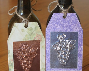 Embossed Wine Bottle Tags -- Set of 2