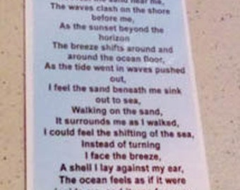 beach bookmark poem Around and Around poem one sided|bookmark |printed and laminated with eyelet then mailed