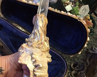 Extra Large Metaphysical Crystal, polymer clay and Sea Shell wand includes decorative case