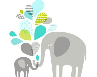"14X11"" Elephants silhouettes landscape giclee print on fine art paper. Turquoise and teal blue, spring green, gray."