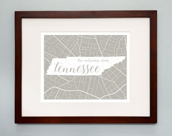 Tennessee State Map Print - 8x10 Wall Art - Tennessee State Nickname - Typography - Housewarming Gift