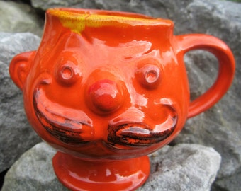 Vintage 3D Man Face Mustache Mug Cup Figurine Red Clay Terracotta Anthropomorphic 1969  Pacific Stoneware Orange Art Pottery