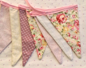 "Fabric Bunting / Flag / Garland - Pink Shades - 2.5m or 98"" long"