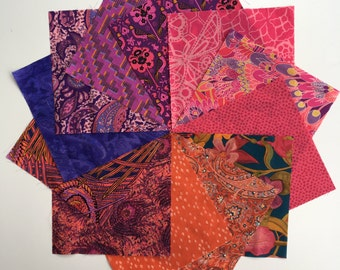 Liberty lawn SUNSET charm pack - 12 Liberty of London Tana Lawn  Fabric 5 inch squares