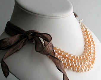 On Sale Pearl Cluster Bib Necklace, Peach Pearls on Silk Ribbon, Multistrand Peach Pearl Necklace, Deluxe Gift for Her, Wedding