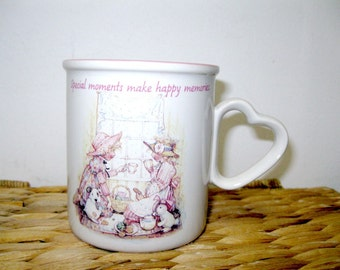Vintage 1990 Pink and White Stoneware HOLLY HOBBIE Special Moments Cup Mug