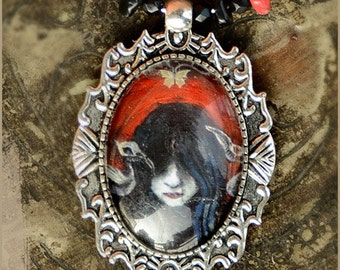 End illustrated necklace - gothic dark wearable art - illustrated jewelry