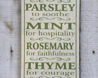 Herb Sign - Sage Parsley Mint Rosemary Thyme typography word art sign for kitchen