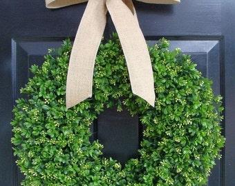 FALL WREATH SALE Faux Boxwood Wreath- Artificial Boxwood Wreaths for Door- Year Round Wreath Burlap Bow- Wedding Decor Boxwood Door