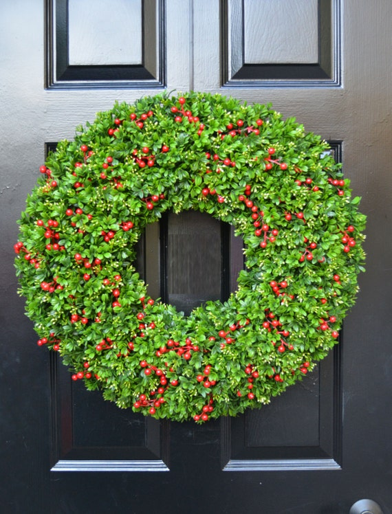 Berry Boxwood Christmas Wreath- Holiday Wreath-Berry Door Wreath- Weatherproof Berry Boxwood Winter Wreath-Christmas Decor-Everygreen Wreath
