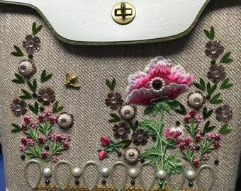 Minty Vintage Jewel Tone Applique Handbag No. 1201 Pink Poppies, Enid Collins Style