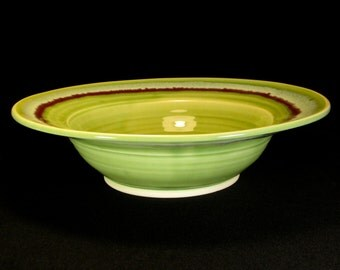 green bowl- pottery charger- ceramic bowl- green serving bowl- green charger- green flared bowl- green pottery bowl- InStock